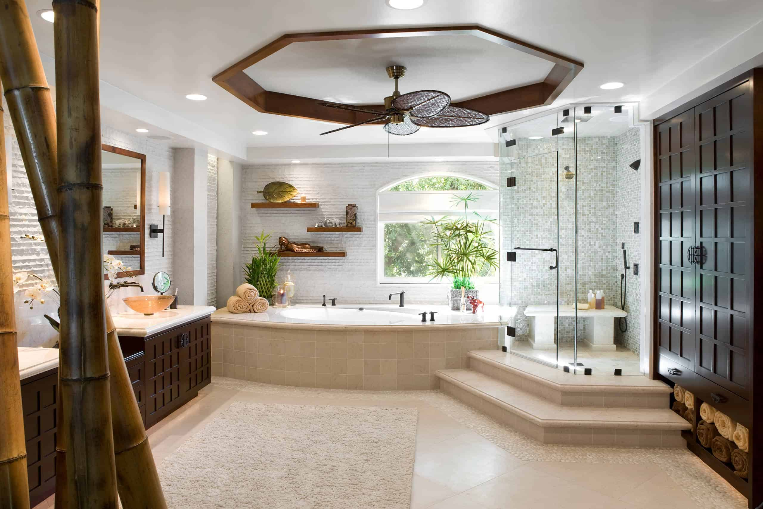 ceiling fans for ventilation of big and small bathroom designs with floor concepts