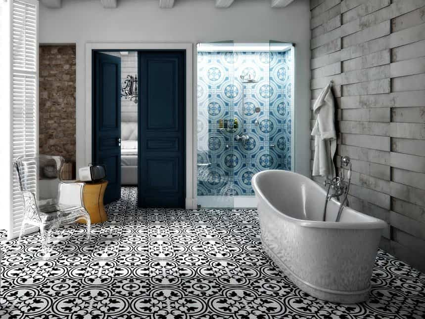 black and white floor with a contrasting bathroom ceiling design