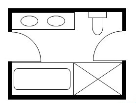 Jack and Jill layout with a double sink and a bath and a shower