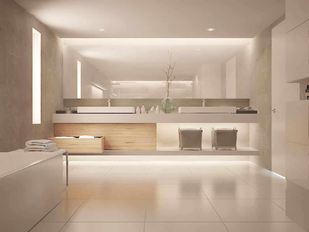 Minimalist master bathroom ceiling design, floor, and decor