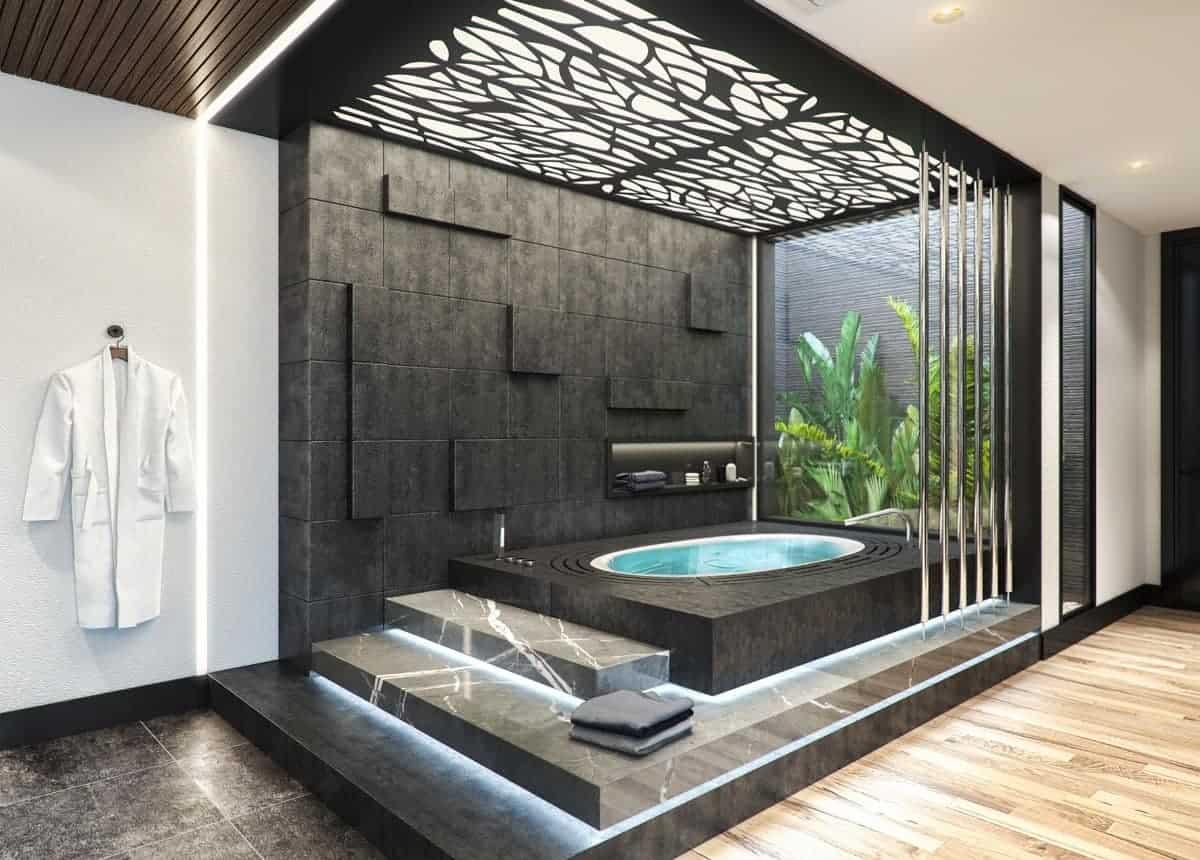 fancy bathroom ceiling design for the spa tub