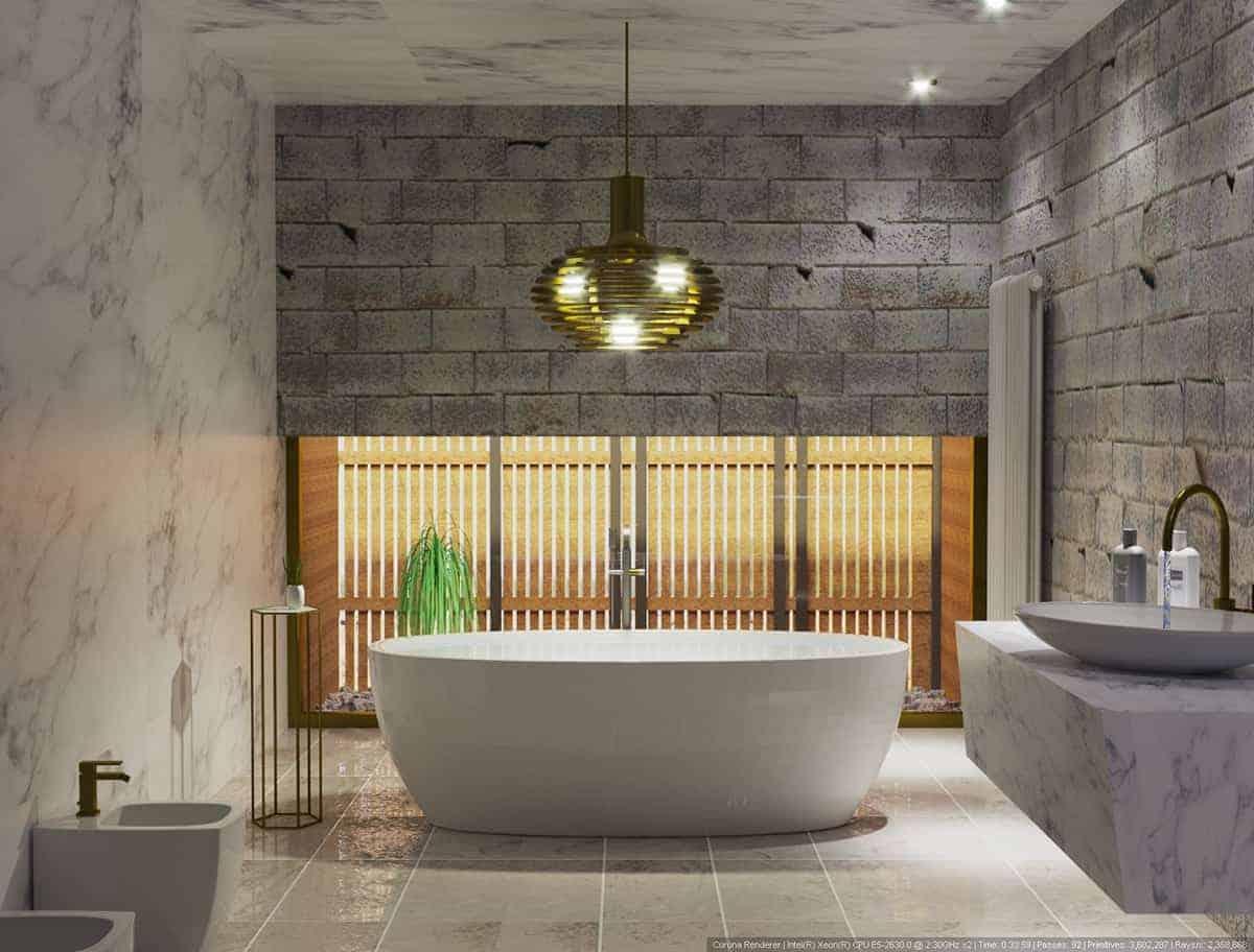 master bathroom ceiling design with bathtub and statement light