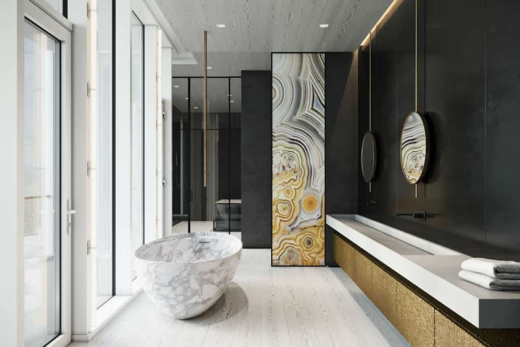 luxurious bathroom design with ceiling