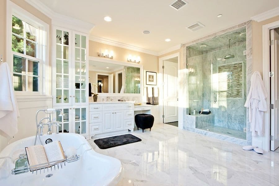modern bathroom ceiling design with all white base