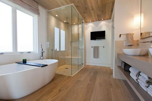 small wooden bathroom with a beautiful floor and bathroom ceiling design