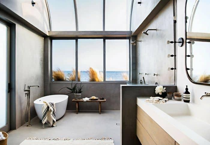 clear skylight for a simple bathroom
