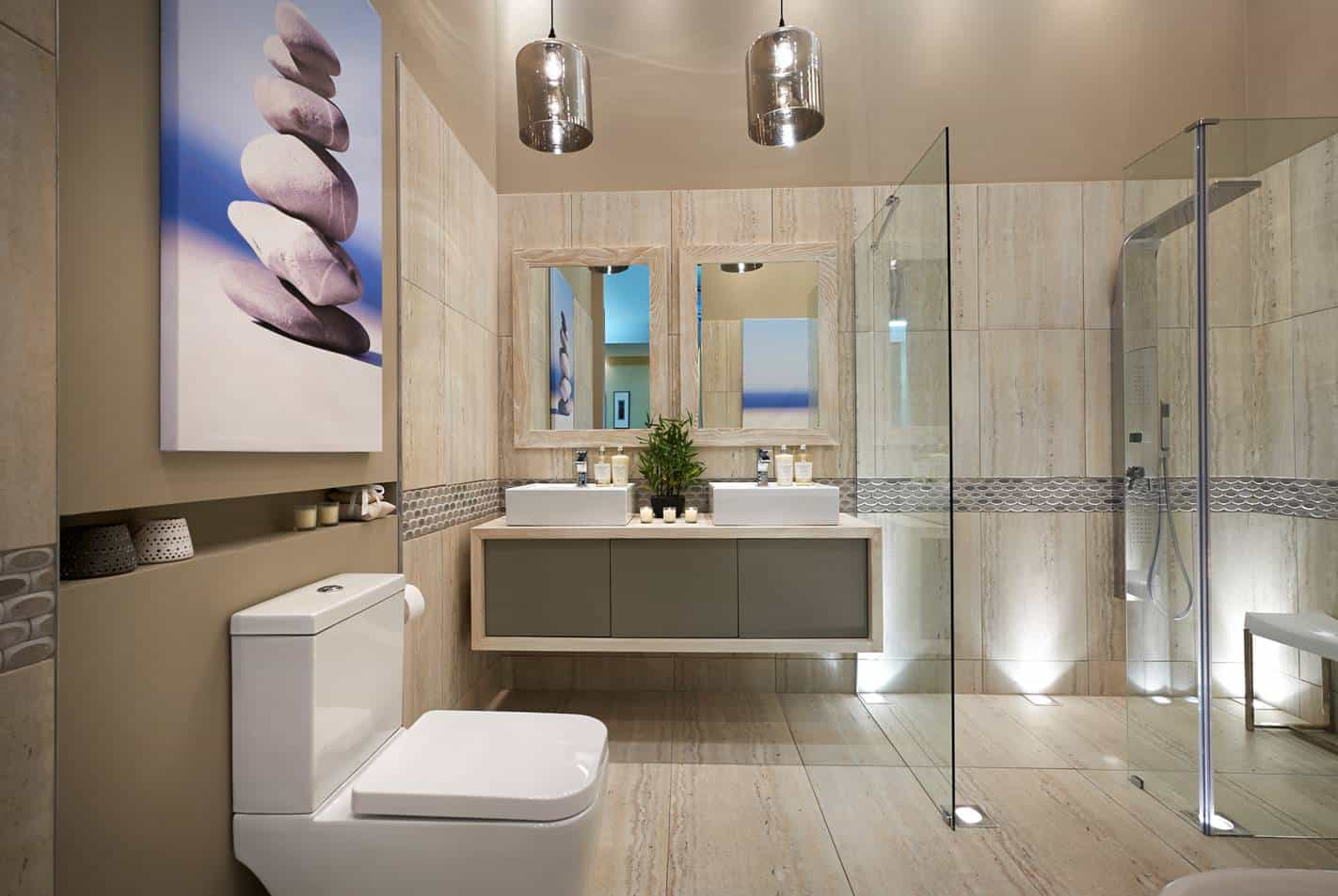 small bathroom with a beautiful floor and ceiling design