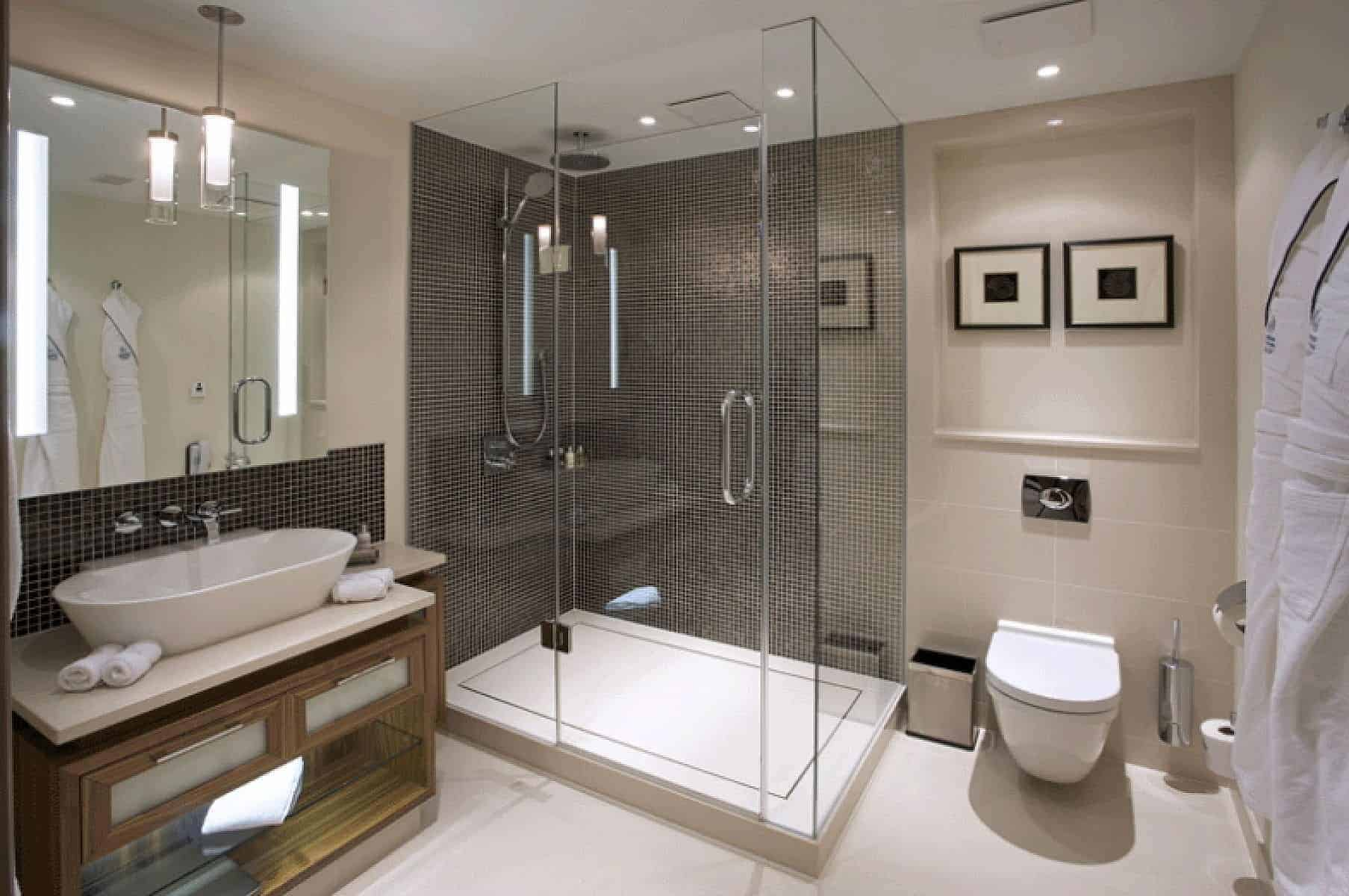 small bathroom design without bathtub with ceiling and floor